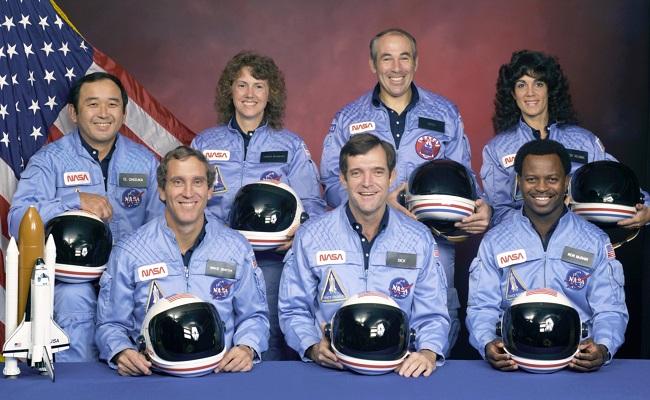 Michael J. Smith, Francis R. (Dick) Scobee, and Ronald E. McNair. Ellison Onizuka, Christa McAuliffe, Gregory Jarvis, and Judith Resnik._78076