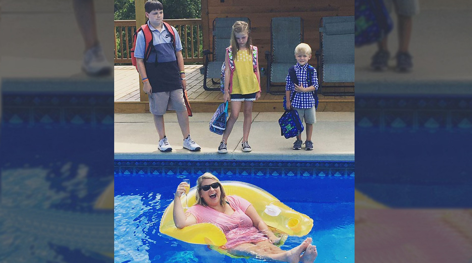 A back-to-school pool photo quickly turned viral for a mother of three in East Alabama.