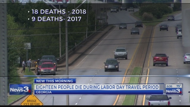 LABOR DAY: 18 people die on Georgia highways