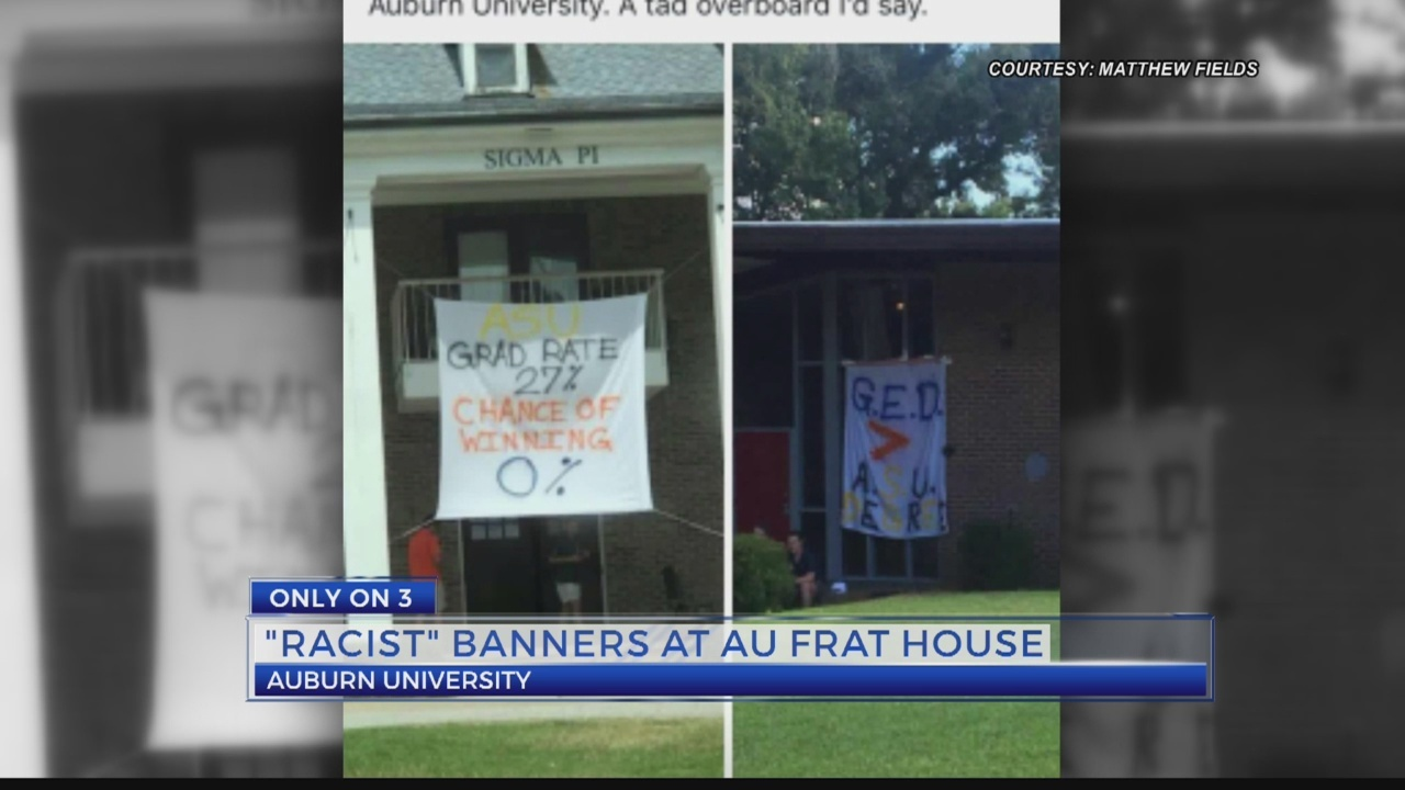 Banners perceived as racially insensitive spark controversy