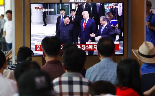 Donald Trump. Kim Jong Un, Moon Jae-in