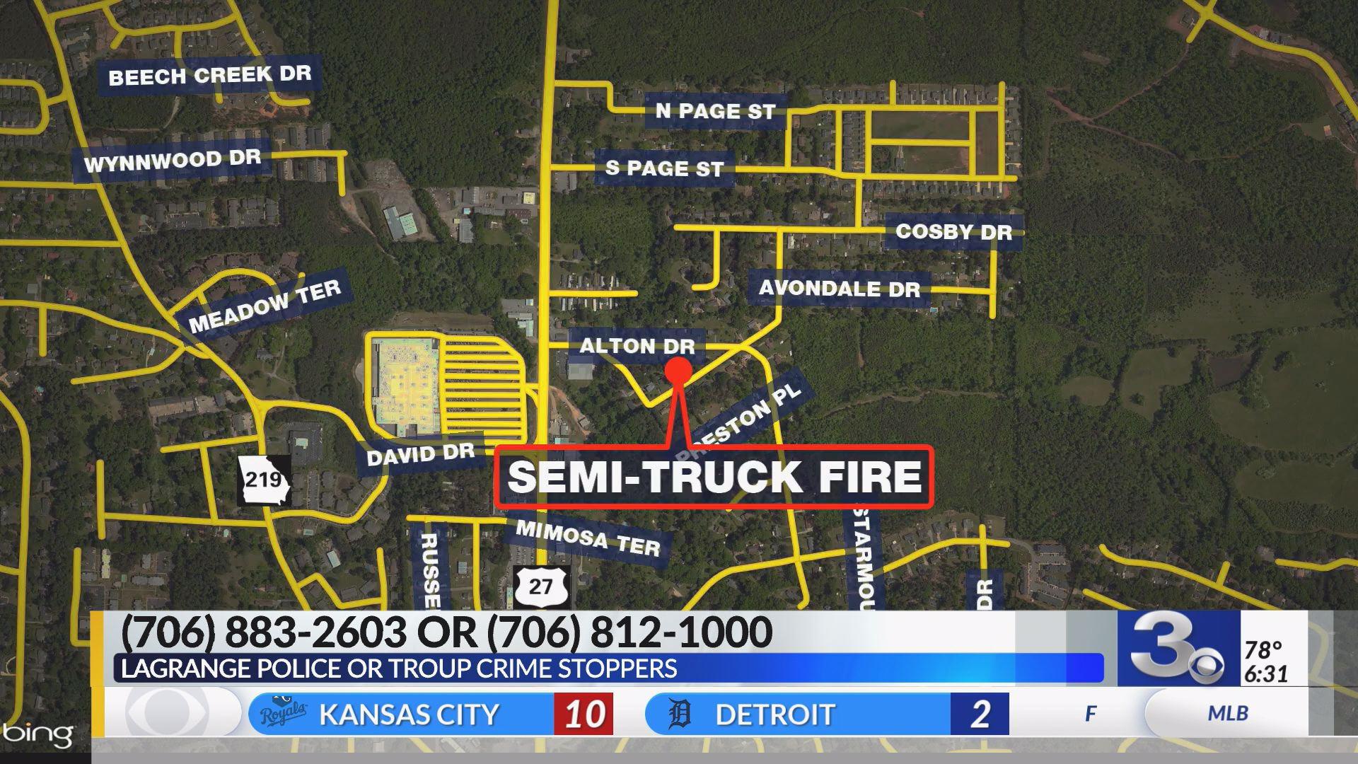 LaGrange police investigating semi-truck arson   WRBL