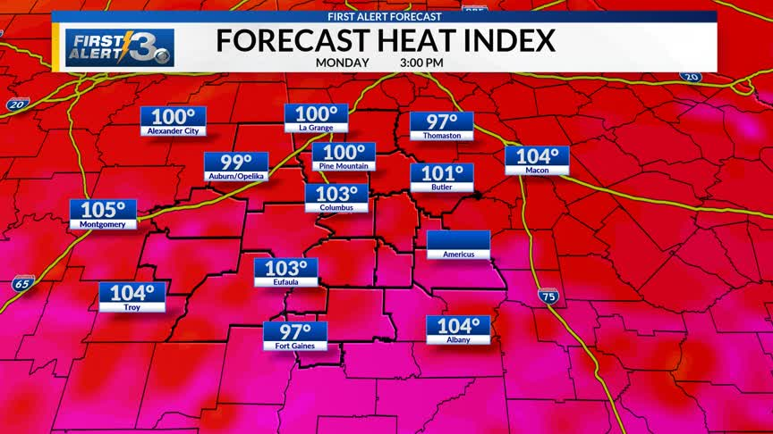 More heat to start the work week   WRBL