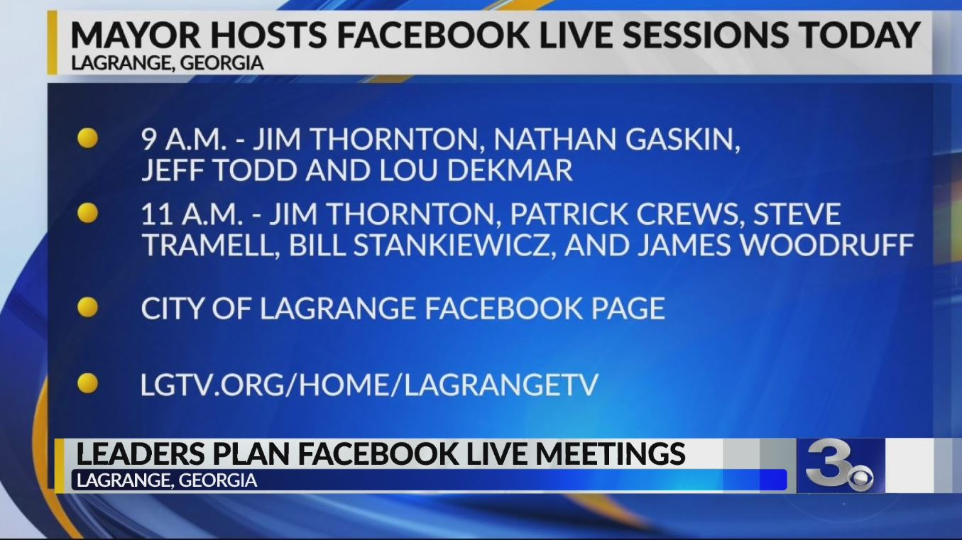 Lagrange Hosting Two Facebook Live Meetings This Morning To
