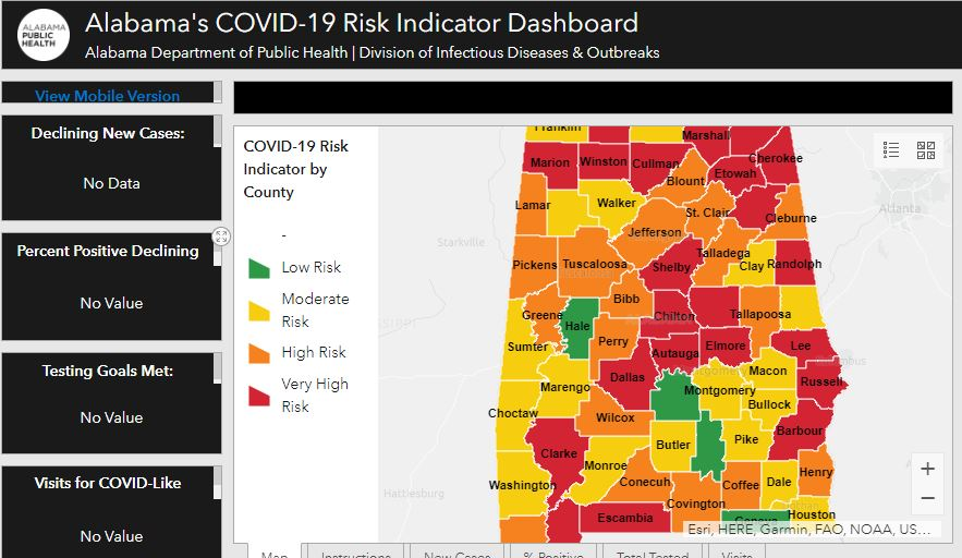 Adph Introduces Color Coded Covid 19 Risk Map To Assist In Reopening The State
