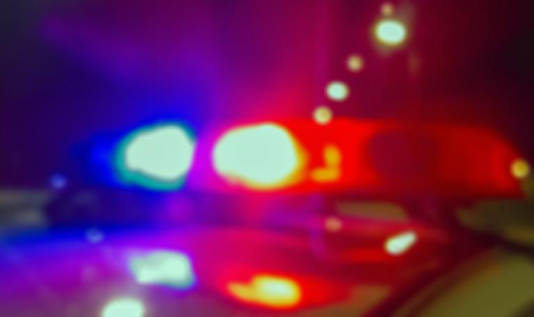 Lights of police car in nigh