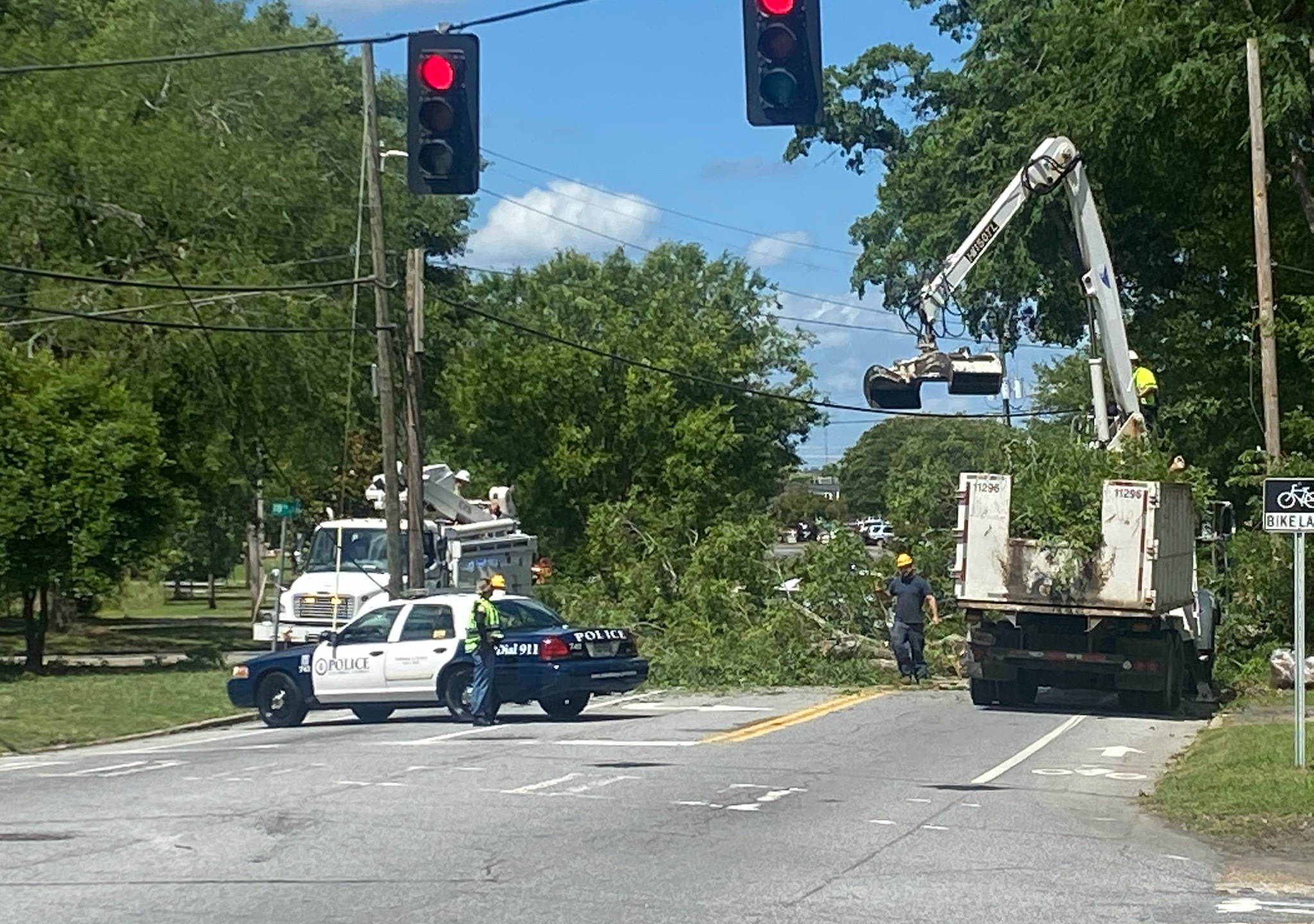 Tree down across 13th Street in Midtown Columbus
