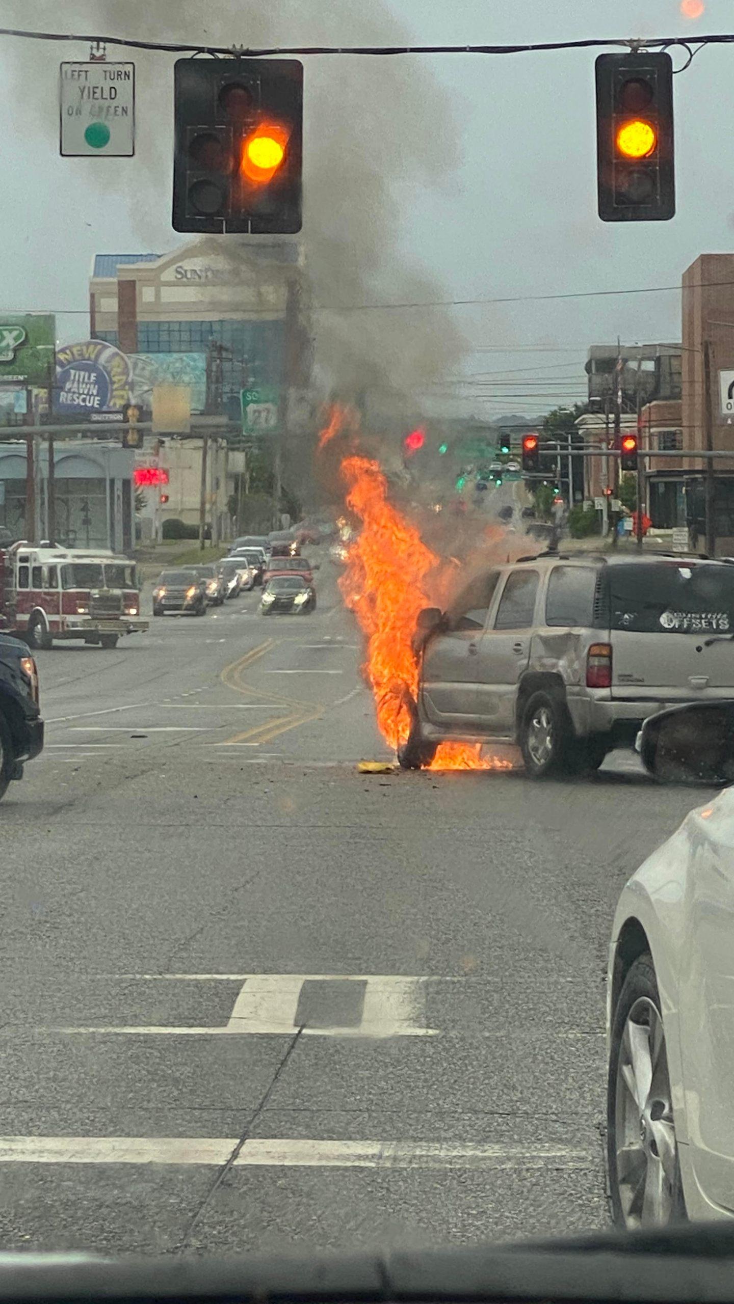 Car on fire on 13th street in Columbus, Georgia