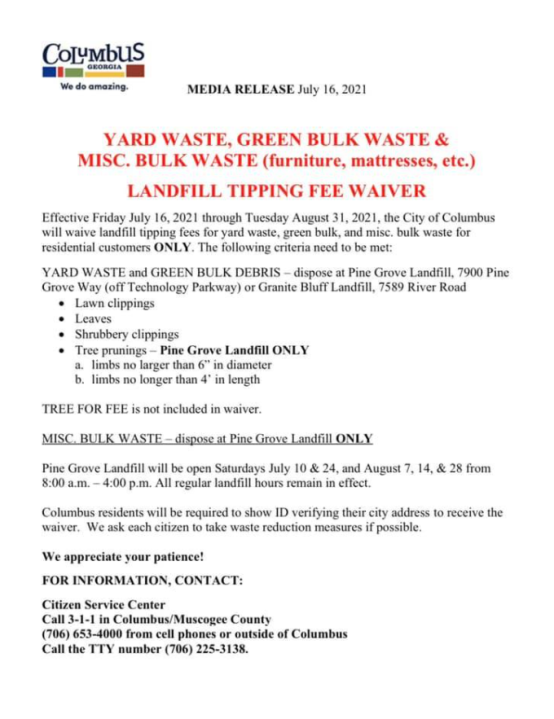 Trash Tipping fee waived